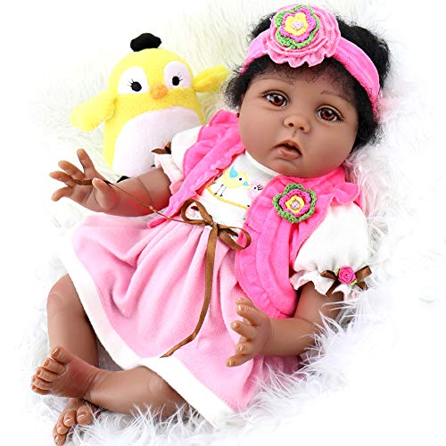 Aori Lifelike Reborn Baby Dolls 22 Inch African American Soft Body Realistic Girl Doll with Bird Gift Set