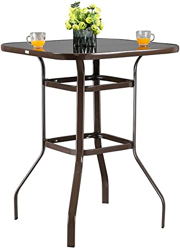 VINGLI Outdoor Bar Table Bistro Table Metal Frame Patio Bar Table, Tempered Glass Table Top All Weather Outdoor Bar Height Brown