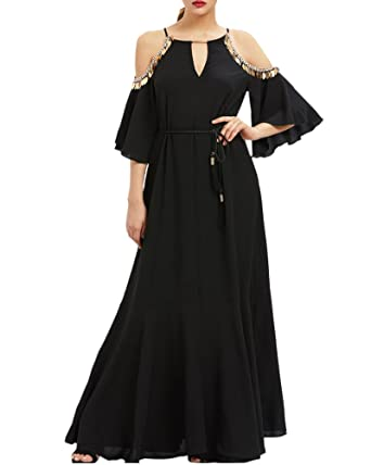 Aofur Women Summer Chiffon Evening Long Maxi Black Dress Plus Size 8-24 Ladies Party