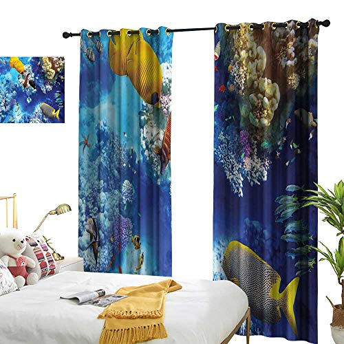 (LewisColeridge Customized Curtains Ocean,Wild Underwater Sea Animal Aqua World Corals Tropical Fishes and Stingray,Navy Blue and Yellow,Blackout Draperies for Bedroom Living Room 54