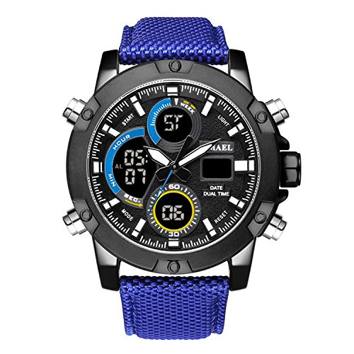 - Alloy Dial Watch Analog LCD Digital Display Outdoor Men Sport Quartz Movement Date Stopwatch Back Light Nylon Band Watches,Blue