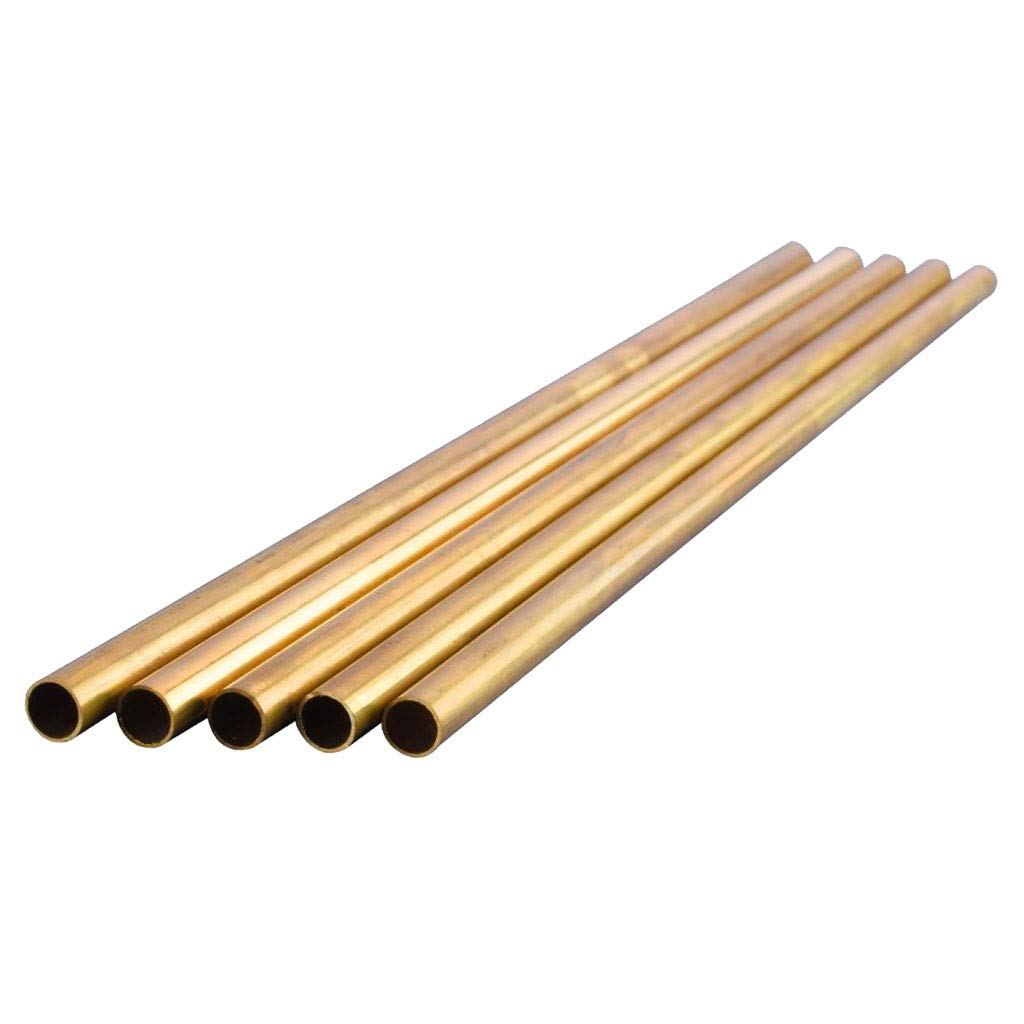 Fenteer 5Pcs Round Copper Brass Tubes Dia 8mm Copper Tool for DIY 300mm Length crafts modelers Great for scratch builders