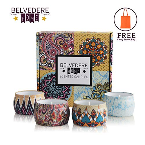 Belvedere Home Scented Candles Gift Set, 4 Pieces - Decorative Natural Soy Wax Lavender, Rose, Ocean & Orange Candle - Portable Aromatherapy for Bathroom, Hotel & Home ()