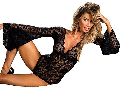 Stretch Lace Bodysuit W/Long Bell Sleeves Black (XL)