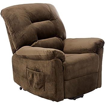 Coaster Home Furnishings Power Lift Wall Hugger Recliner Chair - Dark Chocolate Textured Padded Velvet