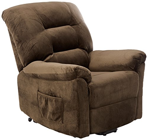 Coaster Home Furnishings Power Lift Wall Hugger Recliner Chair - Dark Chocolate Textured Padded Velvet (Circle Pillow Big)
