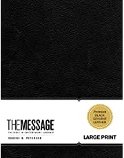 The Message Large Print (Genuine Leather, Black): The Bible in Contemporary Language