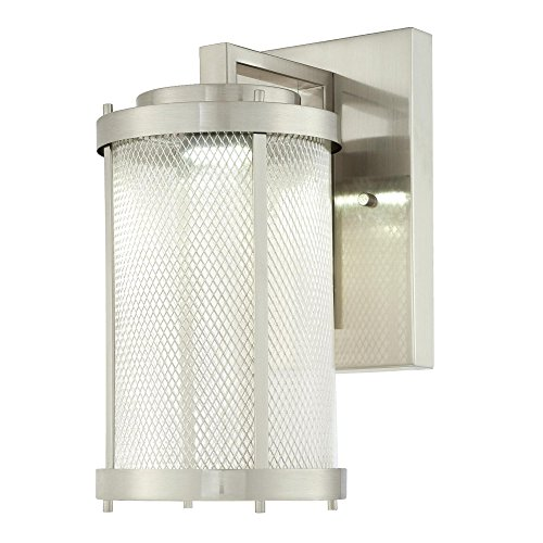 Westinghouse 6312124 Skyview One-Light LED Outdoor Wall Fixture, Brushed Nickel Finish with Mesh and Clear Glass
