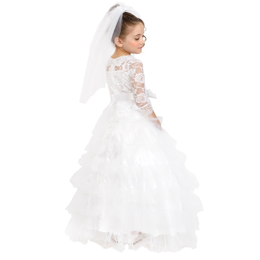 Dress Up America Girls Dreamy Bride Dress Little Girl Wedding Bridal  Costume Outfit