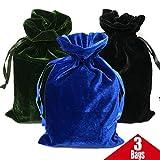 GiftExpress Pack of 3 Velvet Tarot Rune