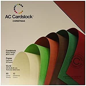 American Crafts 12-Inch by 12-Inch Cardstock Variety Pack, Christmas
