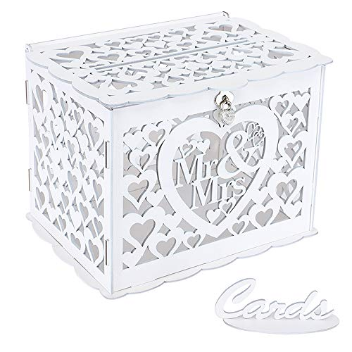 Ywlake Wedding Money Box Holder with Sign, Large Rustic Wood Wooden DIY Envelop Gift Card Boxes with Lock Slot for Reception Anniversary Graduation Birthday Party Parties (Mr & Mrs, White)