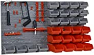 DURHAND 44PC Wall Mounted Storage Bins Parts Rack Kit with Storage Bins, Pegboard and Hooks, Garage Plastic Or