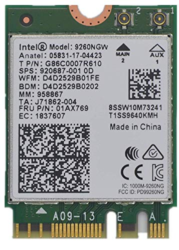 9260NGW WiFi Card for Intel,Dual Band Wireless- 9260AC AC 9260 NGFF WiFi Card M.2 NGFF 2.4/5GHz(160Mhz) Bluetooth 5.0 Wireless WiFi Card 1.73Gbps Gigabit