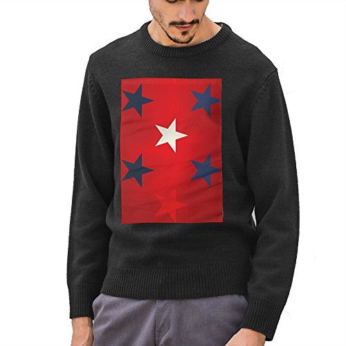 Men's Blue White And Red Stars Funny Pattern DIY Custom Pattern Fashion O-Neck Sweater Jumpers Pullover Small]()