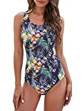 ZANDO Womens Bathing Suits One Piece Swimsuits Athletic Training Swimsuit Tummy Control Slimming Swimwear for Women Blue-Pink Flower Print S (fits like US 2-4)