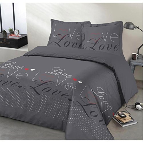 VISION Parure de couette 100% Coton LOVE - 1 housse de couette 220x240 cm + 2 taies d'oreillers 65x65 cm anthracite, blanc et rouge
