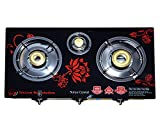 Poweronic Surya Crystal 3-Burner Gas Stove Cooktop, Blue And Black
