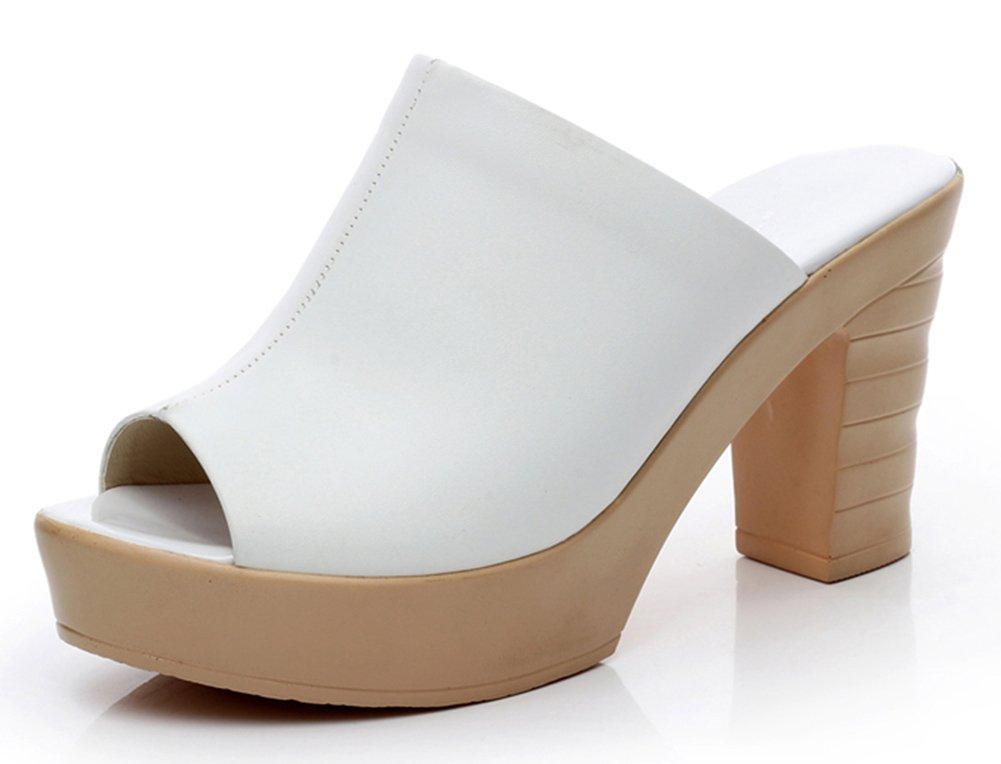 Easemax Mode Femme Mode Peep Mules Toe Talon Haut Easemax Bloc Mules Blanc 1c521e9 - latesttechnology.space