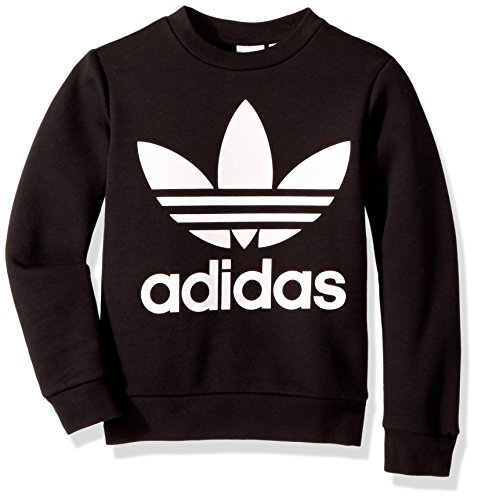 adidas Originals Boys' Big Fleece Crew, Black/White, Medium