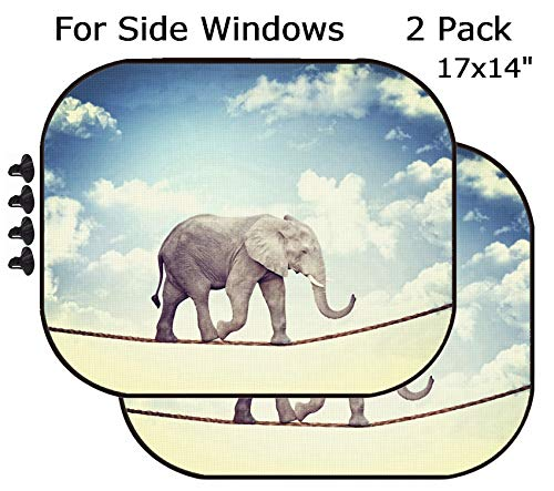 MSD Car Sun Shade - Side Window Sunshade Universal Fit 2 Pack - Block Sun Glare, UV and Heat for Baby and Pet - Abstract Image of Acrobat elaphant Image 19749625 Customized Tablemats Stain