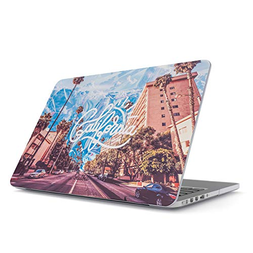 West Laptop Case - Glitbit Hard Case Cover Compatible with MacBook Pro 13 Inch Case Release 2016-2018 Model: A1989 /A1706 /A1708 with or Without Touch Bar California Dreaming Sunny Cali USA Palm Trees Summer Good Vibes