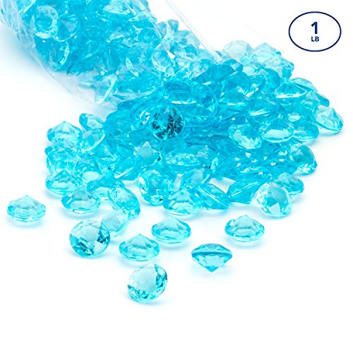 Acrylic Diamonds Gems Crystal Rocks for Vase Fillers, Party Table Scatter, Wedding, Photography, Party Decoration, Crafts by Royal Imports, 1 LB (Approx 140-160 gems) - (Aqua Blue Gem)