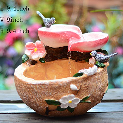 Statues Tabletop Fountain,Tabletop Decorative Peach Blossom Water Decoration Water Fountain Tabletop Fountain with Light Living Room Office Desktop Jewelry Business Gifts-A 9.4inch