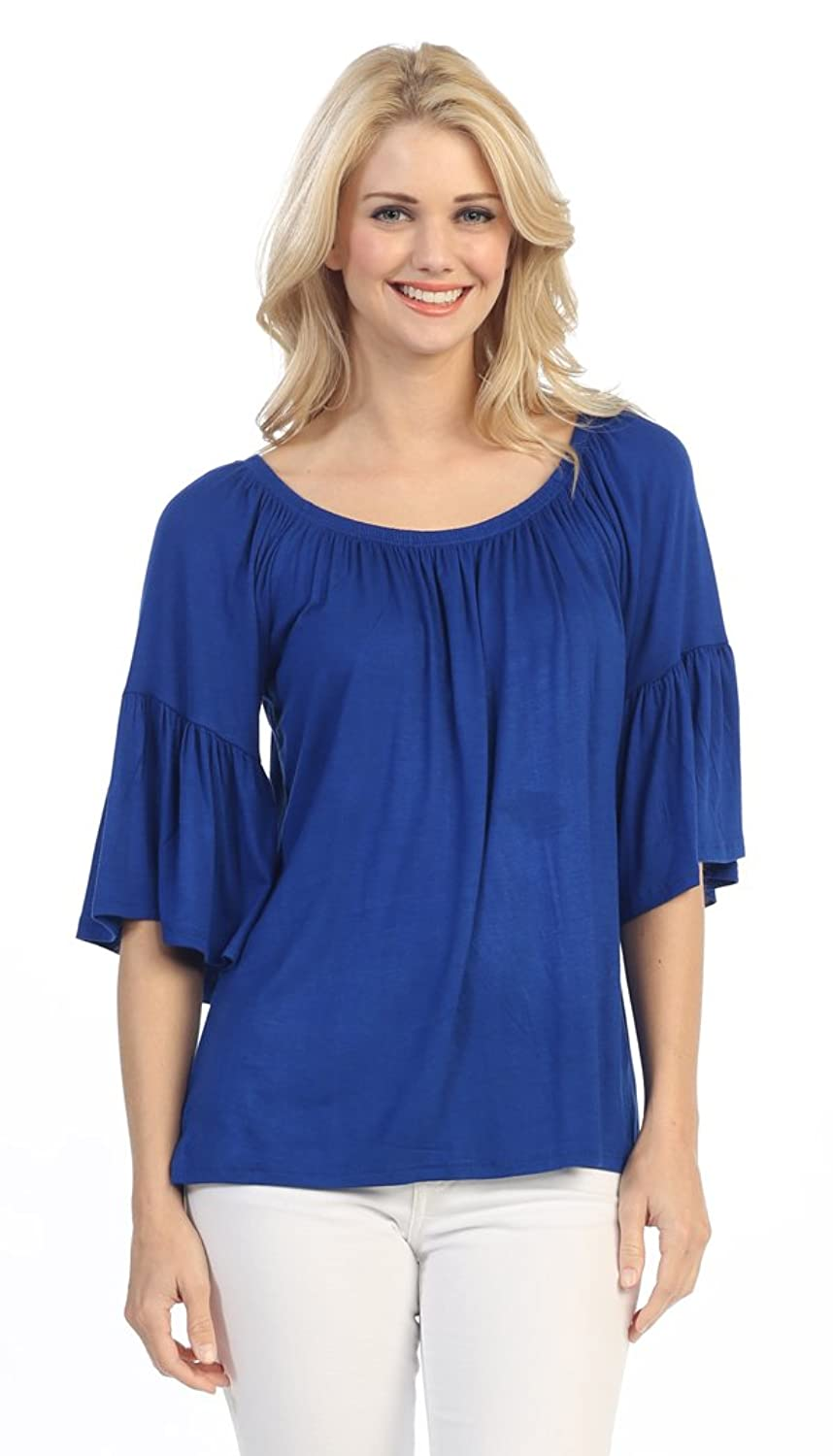 Women's Solid On or Off Shoulder Bell Sleeve Shirt Top Blouse (Small, Blue)  at Amazon Women's Clothing store: