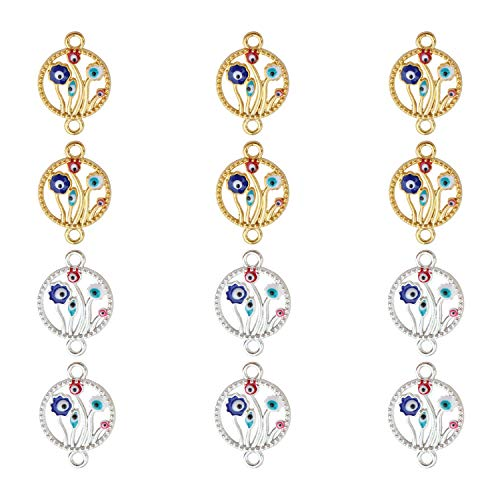 12pcs Tree of Life Charm Connectors Gold Silver Tone with Enamel Evil Eyes Charms Pendants for Necklace Bracelet Ankle Jewelry DIY Making Crafting