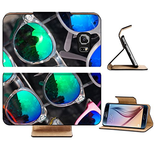 Luxlady Premium Samsung Galaxy S6 Edge Flip Pu Leather Wallet Case IMAGE 32515063 bunch of retro style sunglasses on a rack in front of a - Sunglasses A Bunch Of