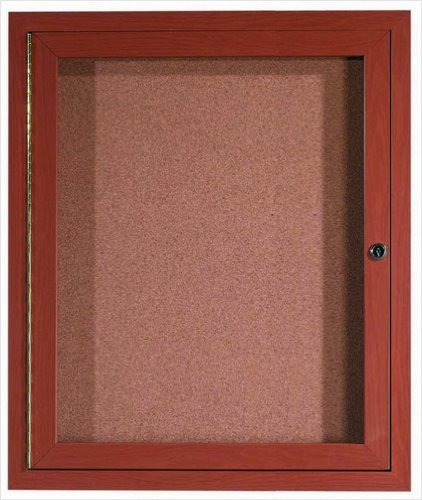 Aluminum Wall Mounted Enclosed Bulletin Board Frame Color: Oak Wood, Number of Doors: One, Size: 36