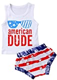 BANGELY Kids Baby Boys American Dude Glasses Letters Print T-Shirt Tees Tops+USA Flag Shorts Set Size 2-3 Years (White)