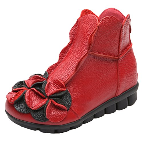 Vogstyle Women New Casual Flower Handmade Leather Ankle Boots Style 1-red Fleece