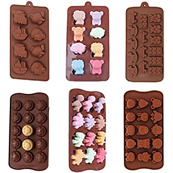 6 Pack nonstick value pack molds of Baby Toys, Smiley Face Emoji, Dinosaur, Animal Zoo, Lion and Friends Silicone baking molds for Candy Chocolate Soap (Ships From USA)