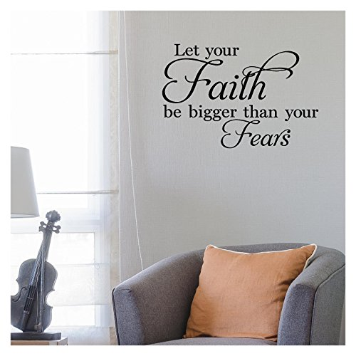 Lettering Wall Sticker Decal (Let Your Faith Be Bigger Than Your Fears Vinyl Lettering Wall Decal Stickers (12.5
