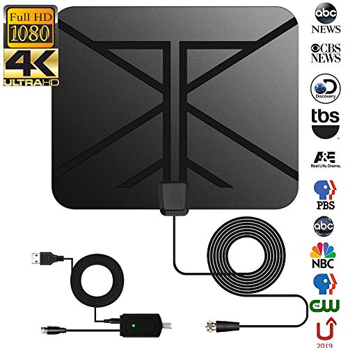 - HDTV Antenna,NCVI 2019 Newest 120 Miles Long Range Indoor Digital HDTV Antenna with Amplifier Signal Booster 4K HD VHF UHF Freeview Support All TV - 13ft Coax Cable