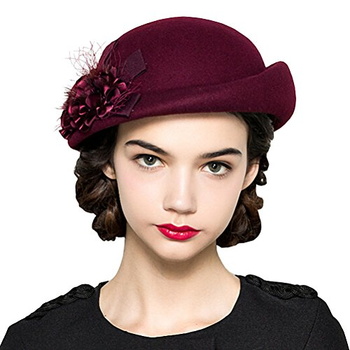 Hat Wool Lace - Maitose Women's Lace Flower Wool Beret Cap Wine Red