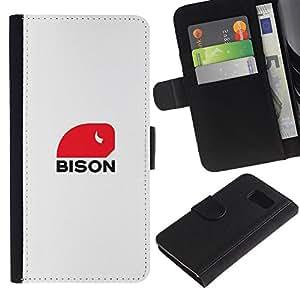 Paccase / Billetera de Cuero Caso del tirón Titular de la tarjeta Carcasa Funda para - bison Haunt - Samsung Galaxy S6 SM-G920
