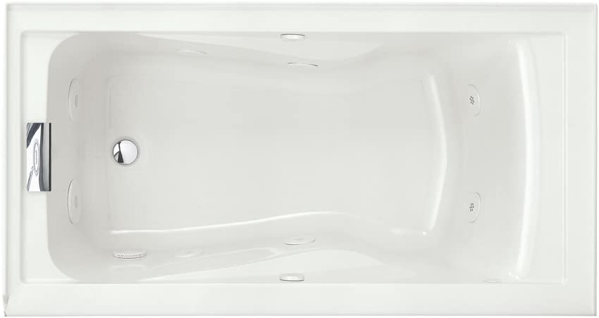 American Standard 2425VC-LHO.020 Evolution 5-Feet by 32-Inch Left-Hand Outlet Whirlpool Bath Tub with EverClean, Hydro Massage System I and Integral Apron, White