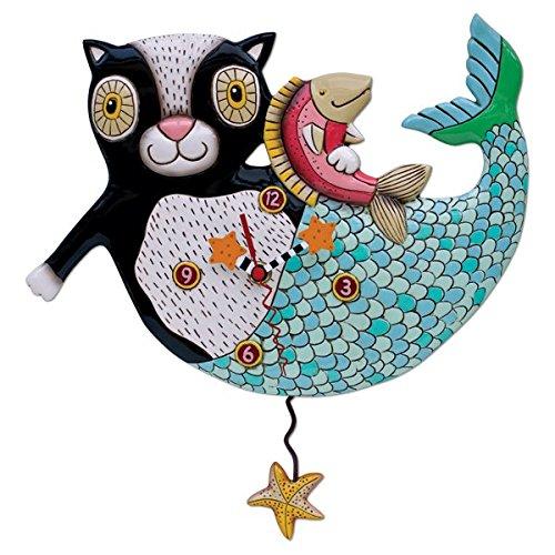 Allen Designs Studios アレンデザイン 振り子時計 掛け時計 「マーキャット」 マーメイド キャット ビーチ 黒猫 魚 ヒトデ 熱帯 P1552 [並行輸入品] B01FLNVFOU