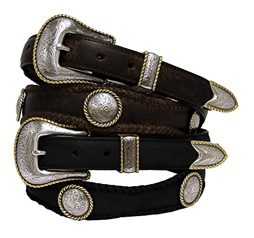 [Baron Gold Round Rope Edge Conchos Western Leather Belt] (Gold Concho Belt)
