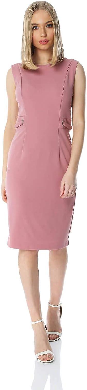 Roman Originals - Vestido ajustado para mujer (media largo), color liso