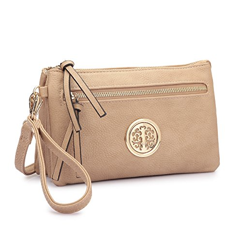 Multi Wallet Crossbody Wallet Convertible Bag Clutch Wristlet Purse Shoulder Travel pocket Beige 6wxv6R