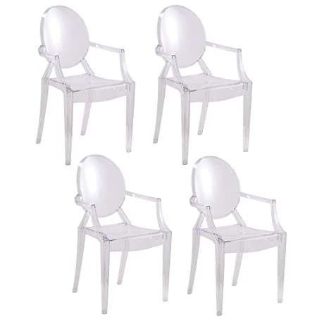 2xhome – Set of 4 – Clear – Modern Designer Louis Ghost Armchairs with Polycarbonate Crystal Clear Transparent Plastic