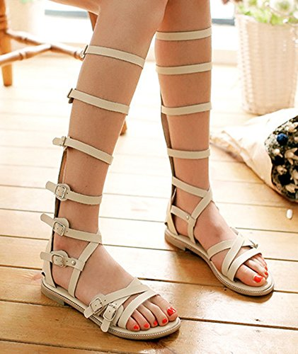 Aisun Women's Stylish Gladiator Hollow out Buckles Flat Long Sandals Boots Cream White AZq8CcRoGl