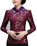 Beloved Women Fashion Slim Fit Cheongsam Lace Print Slim Fit Shirt Top 1 S