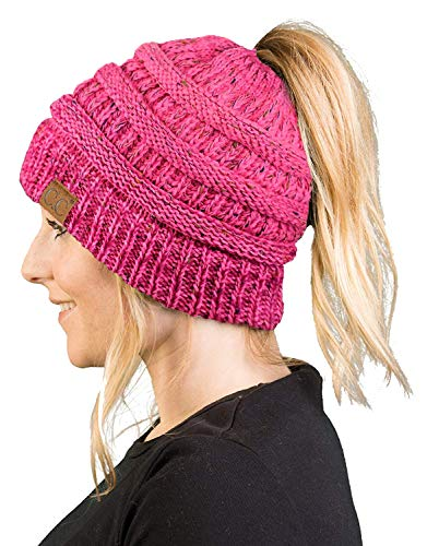 - BT-6800-3324 Messy Bun Womens Knit Hat Beanie Tail - Bubble Gum Pink