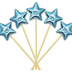 STARUBY 20Pcs Cupcake Toppers Muffin Decoration Blue Star Cupcake Toppers Fun Cake Topper Picks Mini Birthday Cake Decor Shiny Color Sticks for Baby Boys Girls Kids Birthday Party and Wedding Supply