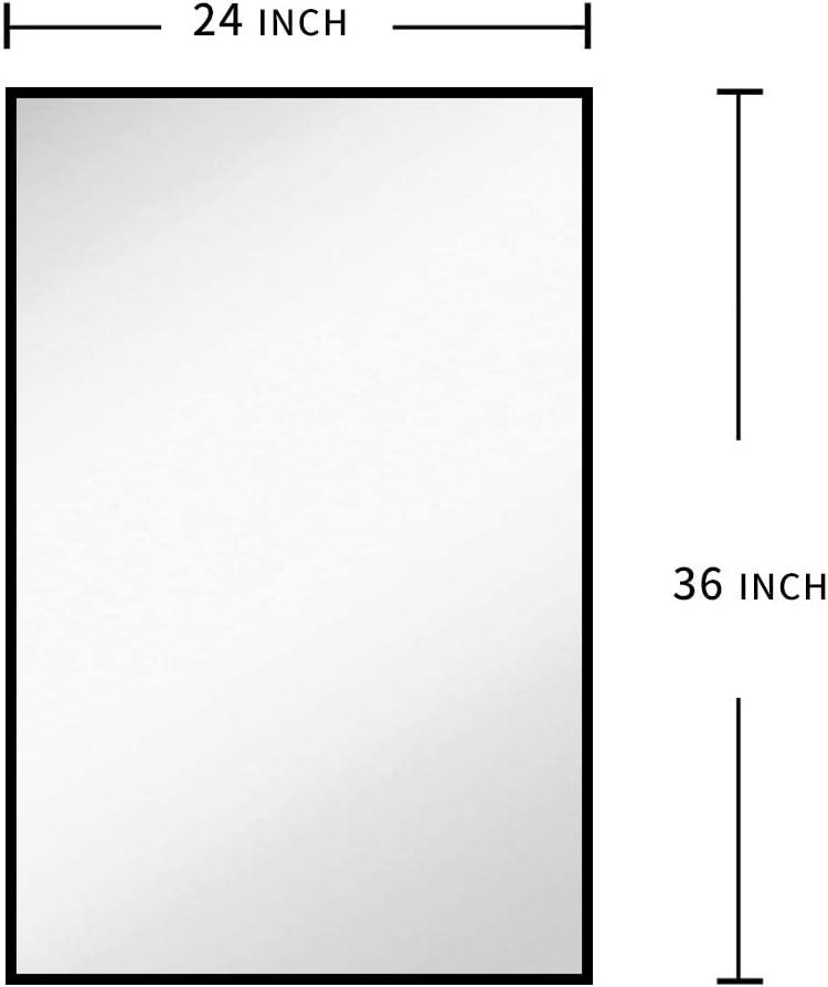 Horizontal or Vertical Corridor Black FANYUSHOW 24 x36 Rectangular Modern Metal Frame Wall Mirror for Bathroom Makeup